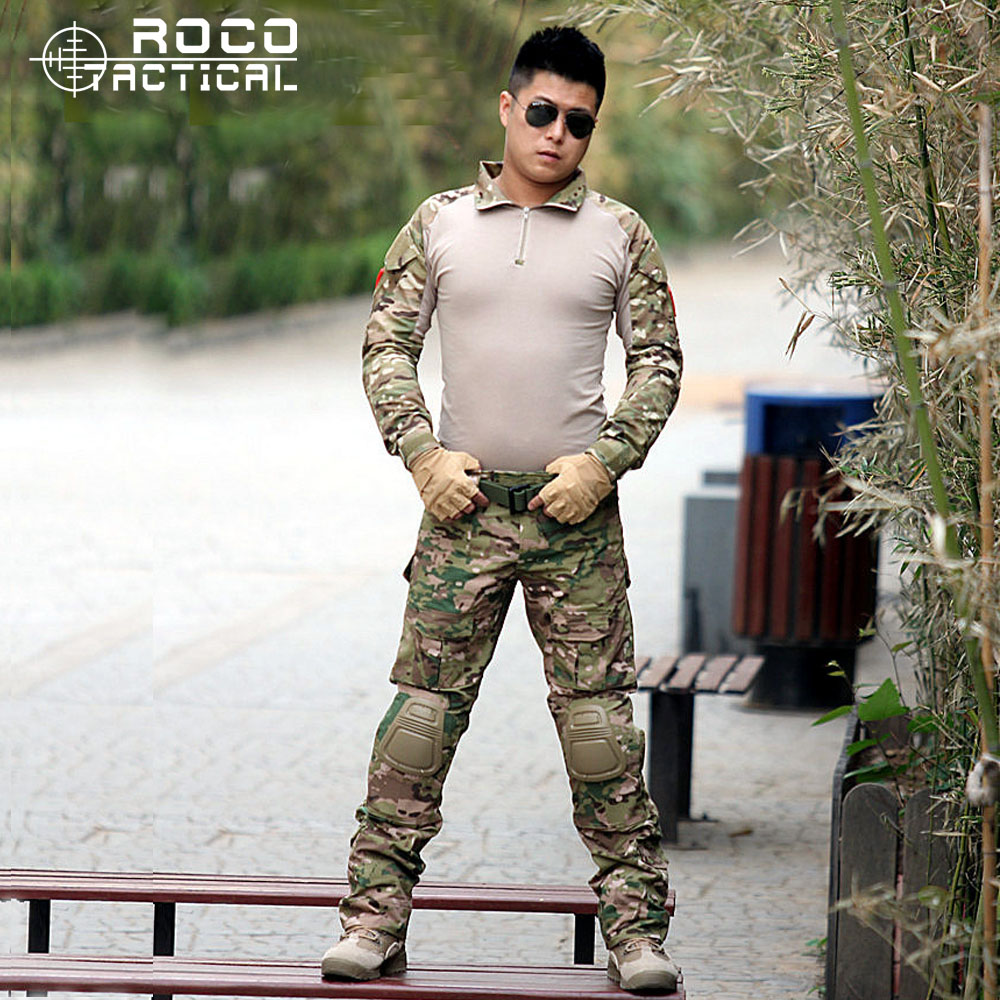 ROCOTACTICAL US Army Navy Seal GEN3 Combat Shirt/Pants Frog Suit with Knee Pads Tactical Frog Suit  BDU Airsoft Military Uniform emersongear gen 2 bdu airsoft combat uniform training clothing tactical shirt pants with knee pads multicam tropic em6972