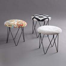 Американский стиль, современный роскошный табурет для ног с мягкими грибами, круглый табурет+ железные ножки(4 ножки), мебель для дома