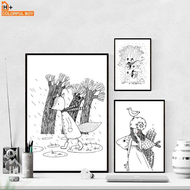 Colorfulboy Renard Poissons Fille Wall Art Imprimer Noir Blanc