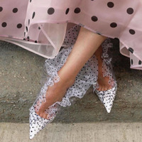 2019 Womens Designer Shoes Polka Dot PVC Mesh Openwork Sexy Pointed High Heels Hot Sales Wave Personality Show Catwalk Pumps