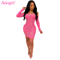 Adogirl Diamonds Off Shoulder Mini Evening Party Dress Women Sexy Strapless Long Sleeve Bodycon Night Club Dress Fashion Outfits