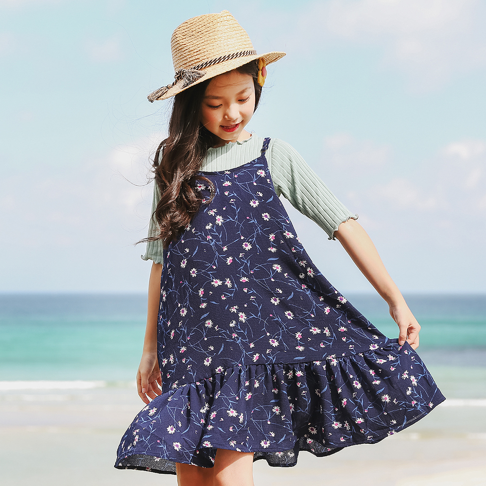 floral teenage girls clothing set 4-12y 2018 summer children clothing set clothes sleeveless dress and t shirts girls set 2 pcs big teenage boys clothes set summer 2017 kids colorful striped t shirts