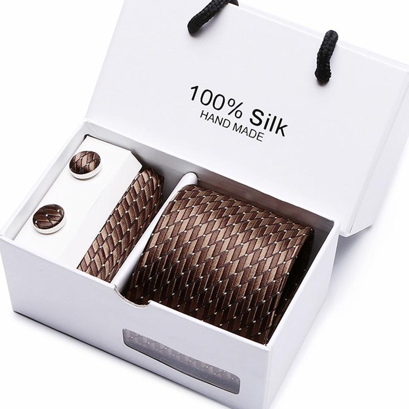 Gift Box Packing  Men Brand Luxury Necktie Pocket Square Wedding Mens Neck Ties Silk Tie Set Cufflinks Handkerchief