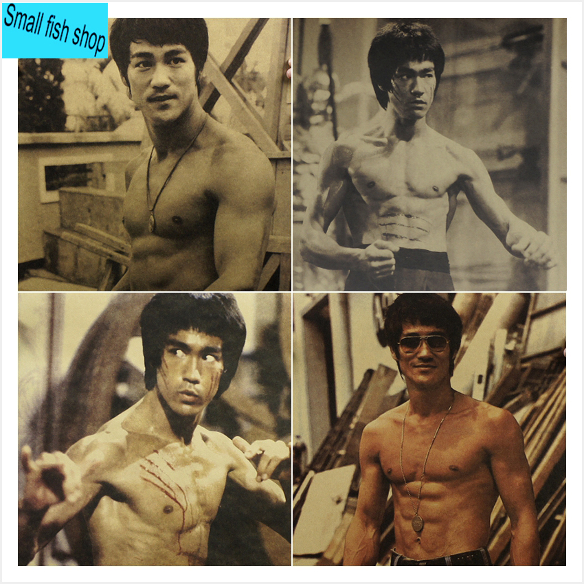Bruce Lee Jeet kune do JingWuMen Chinese martial arts Home Furnishing decoration Kraft Movie Poster Drawing core Wall stickers