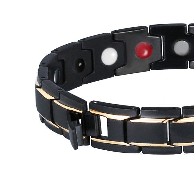 Black 316L Stainless Steel Men's Magnetic Health Bracelets & Bangles 2