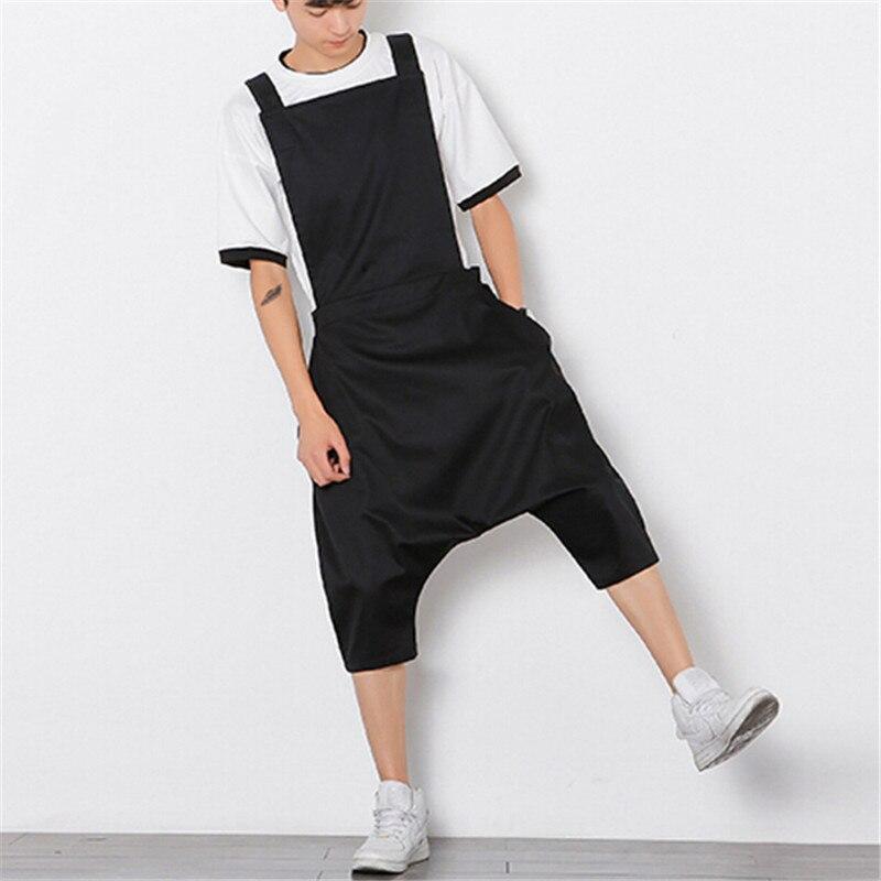 ФОТО 2017 Mens Jumpsuit Fashion Male Bib Pants Overalls Casual Loose Harem Pants Hip-Hop Low Crotch Trousers Plus Size M-XL