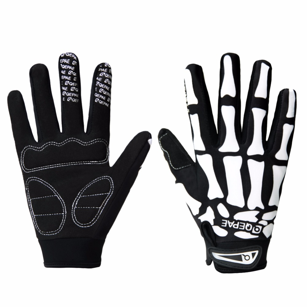 Leather motorcycle skeleton gloves - Bike Bicycle Gloves Motorcycle Sports Skeleton Full Finger Gloves Warm Soft Breathable Micro Fleece Lining Racing