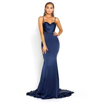 42aebb17b Verano elegante azul marino de sirena vestido de fiesta de longitud piso  elástico malla de Patchwork