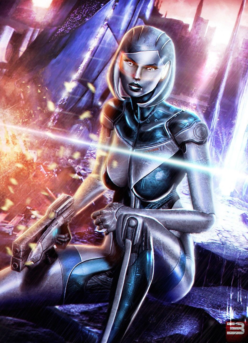 Mass Effect 3 4 Game Space War Fabric poster 17x 13 Decor 135