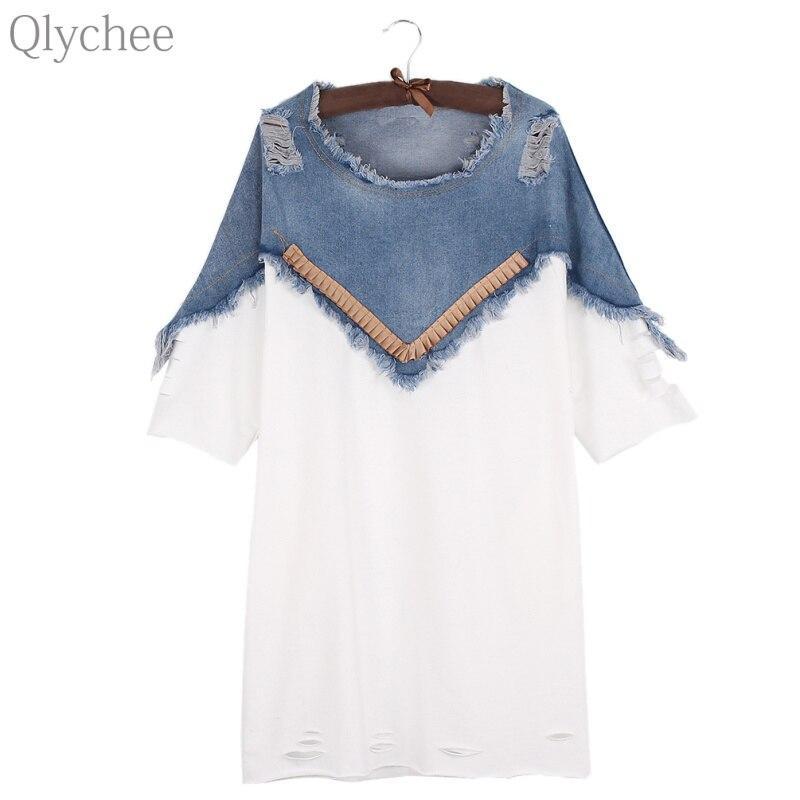 Qlychee Hole Patchwork Denim Dress Women Street Style O Neck Short Sleeve Mini Dress