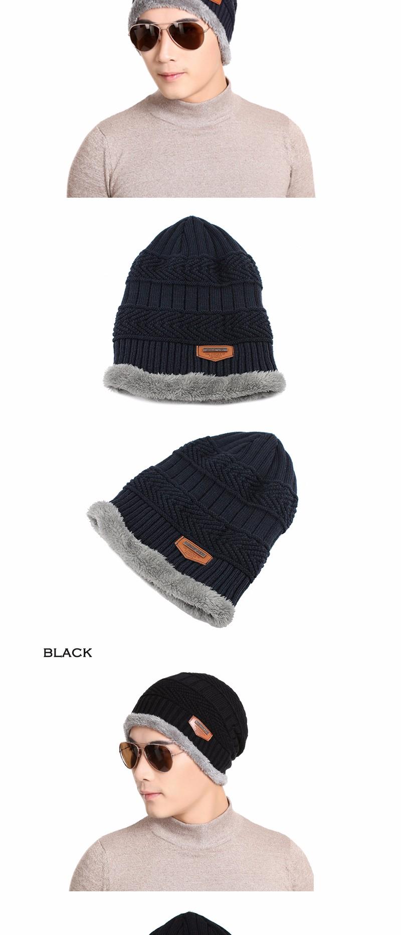 FETSBUY Pure Color Winter Skullies Beanies Hat Knit Winter Hat For Man Warm Hat Velvet Cap Bonnet Toucas Inverno Knitted Hats 15