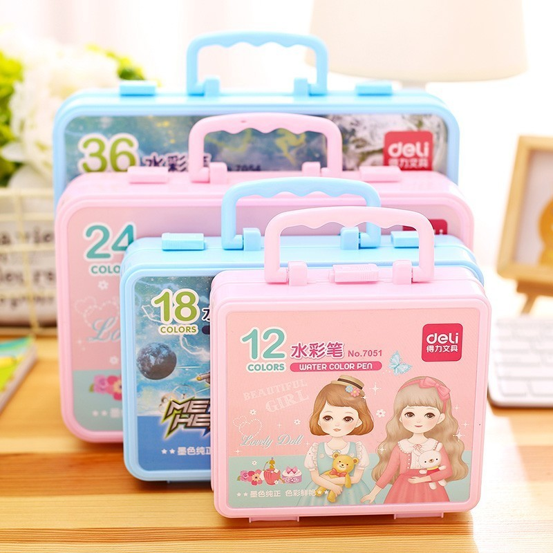 12/18/24/36 Color Cute Kids Drawing Pens Stamp Children Seal Washable Watercolor Pen Graffiti Art Marker Painting Pen Stationery