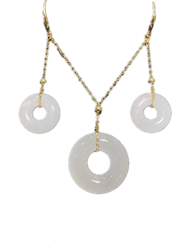 18 K véritable or jaune Hetian blanc Jade paix boucle collier pendentifs et boucles d'oreilles ensemble