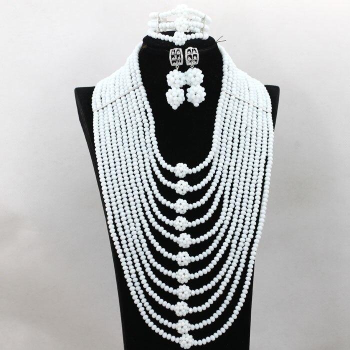 Luxury African Bridal Crystal Beads Jewelry Set White Beads Necklace Earrings Bracelet Jewelry Set Free Shipping WA639