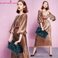 Women autumn lantern sleeve O neck long velvet dress slim elegant gold formal party ball maxi pleated fleece velvet dresses 7337