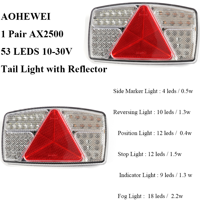 Image 2 - 1 pair AOHEWEI 10 30V LED trailer light Indicator/Stop/Reverse/FogTail lamp with reflector position led light  side marker light-in Truck Light System from Automobiles & Motorcycles