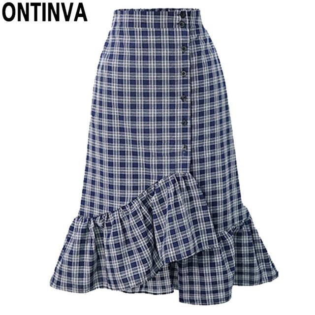 6e986ceb3a Gingham Bodycon Asymmetric Skirt with Button Fashion Lady Ruffle Checkered  Bottoms 2018 New Summer Vintage School Girl Clothes