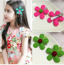 2017 New year gifts for girls hair accessories lovely fabrics flower hairpins spring color small clips