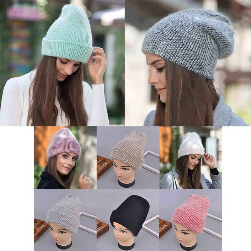 686c8108850 Women Girls Simple Winter Autumn Thicken Knitted Hat Angora Rabbit Fur  Solid Color Cuffed Double Layer