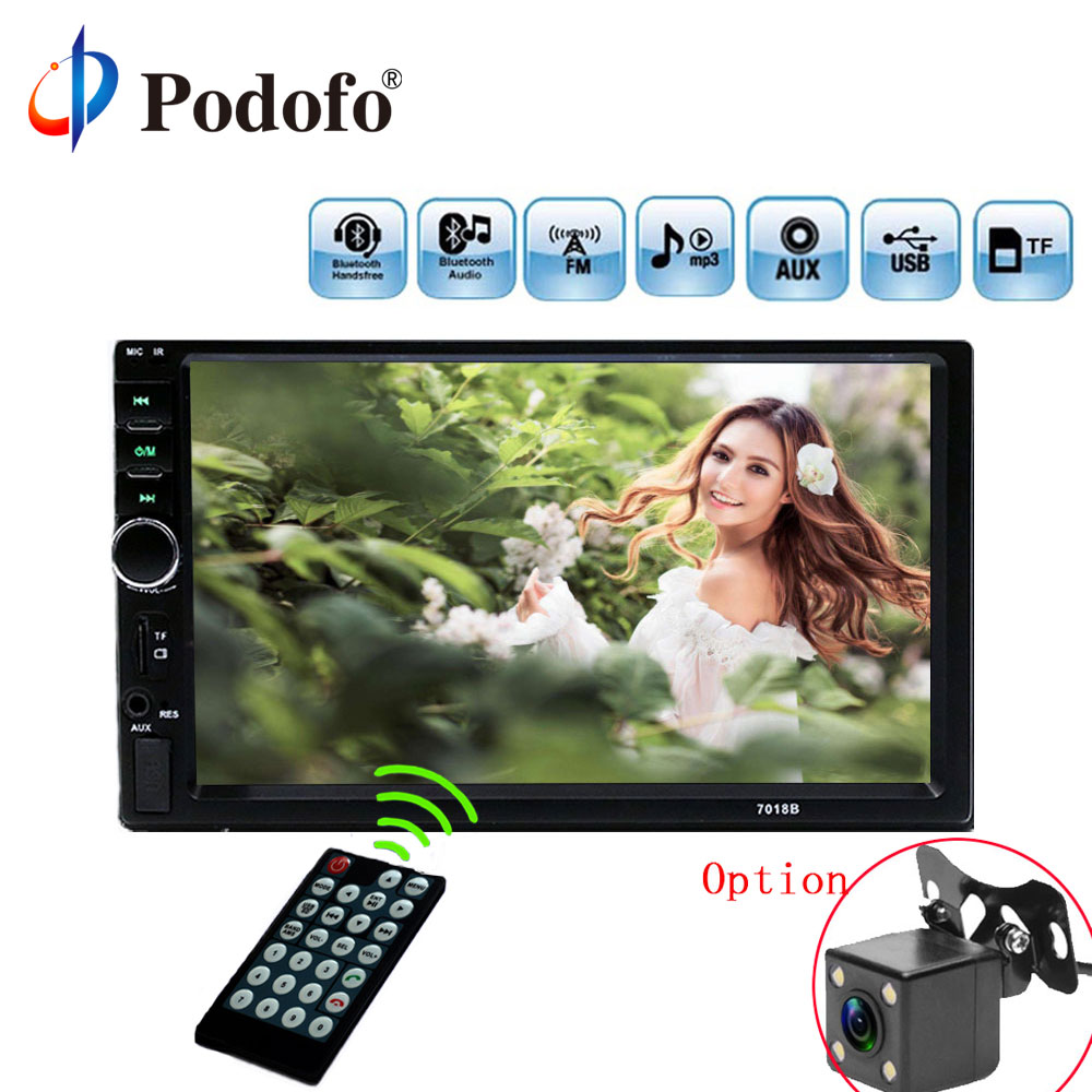 Podofo 7 2dins Car Radios 7018B Car Multimedia Player 2 Din Touch Screen Auto Car Radio Bluetooth MP5 Player, Rear View Camera podofo 2 din car multimedia player gps navigaiton camera map 7 hd touch screen bluetooth autoradio mp3 mp5 player 7018g radios