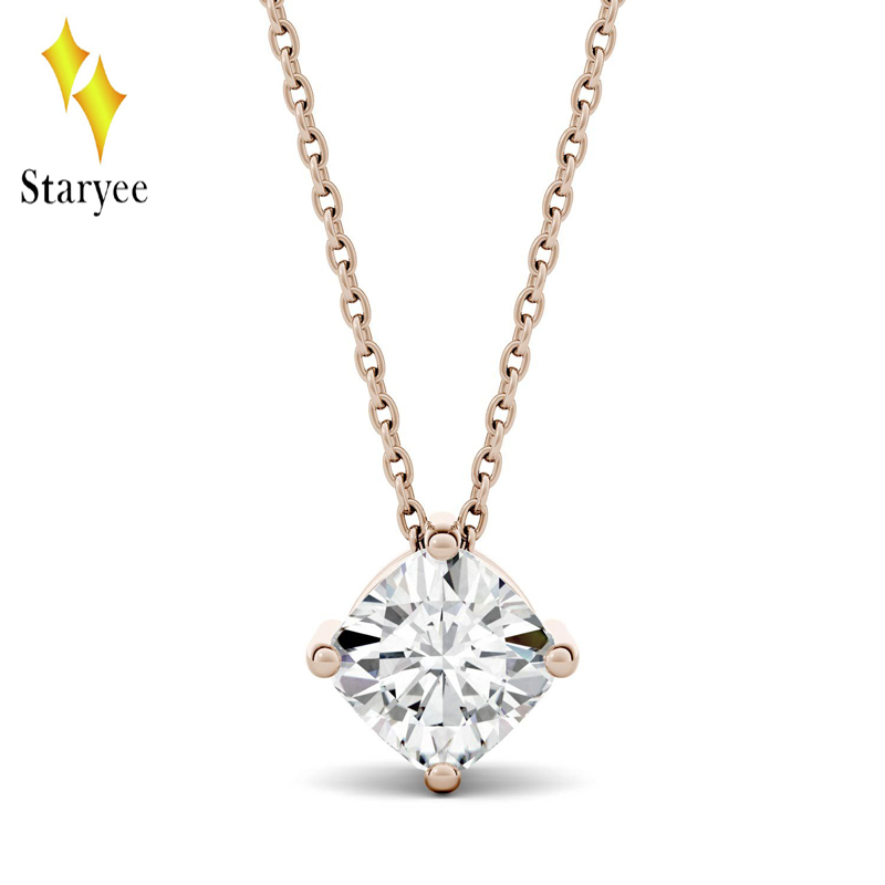 18K Solid Rose Gold 0.5CT Cushion Moissanite Necklaces for Women Gold Chain Solitaire Engegament Wedding Brand Diamond Pendant transgems 18k white gold 0 5 carat 5mm lab grown moissanite diamond solitaire pendant necklace for women jewelry wedding