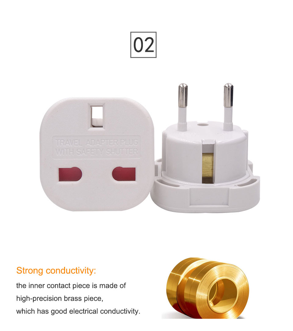 1PC UK To EU Plug 2 Round Pin Socket Travel Wall AC Power plug Charger Outlet Adapter Converter Italy Switzerland Travel Adaptor (11)