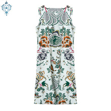 Ameision 100% Silk Crepe De Chine 16momme Fabric Floral Print New Design Classic Comfortable Summer Sleeveless Dress Plus Size