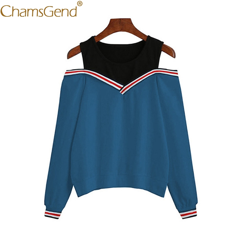 Chamsgend Women Hoodies Girls Sexy Off Shoulder Round Neck Blouse Shirt Female Blue Sweatshirt  71228