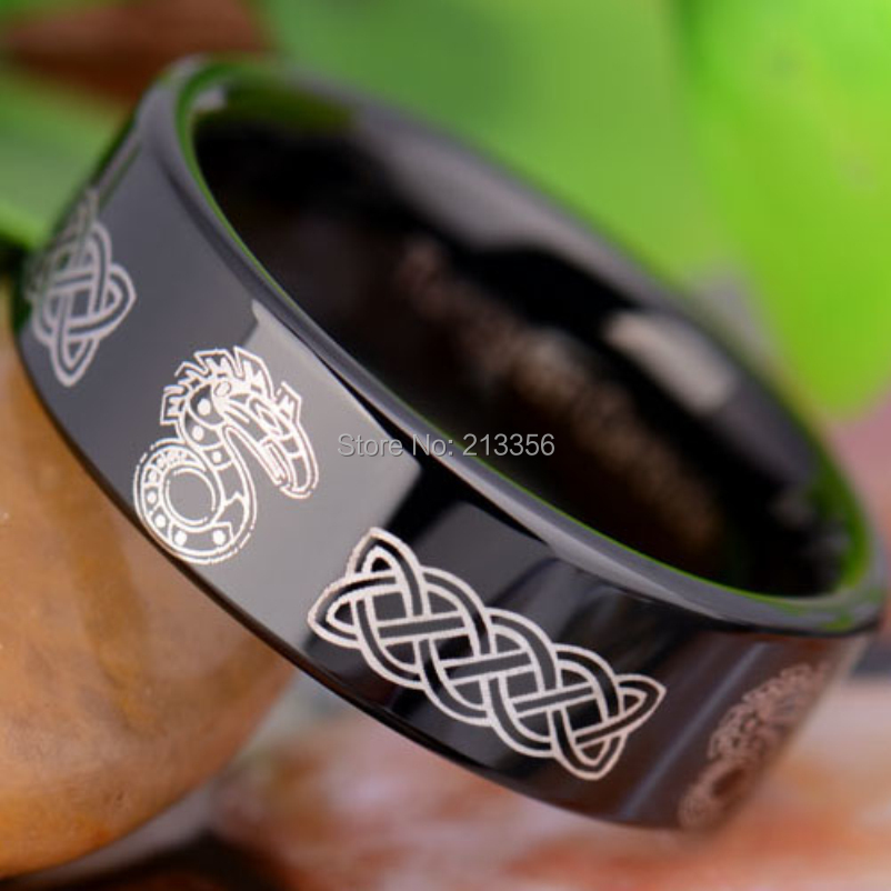Free Shipping!USA Hot Sales E&C TUNGSTEN LUXURY JEWELRY 8MM COMFORT FIT SHADOW RUN DRAGON BLACK PIPE MENS TUNGSTEN WEDDING RING