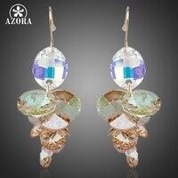 AZORA Benzersiz Tasarım Altın Renk Stellux Avusturyalı Crystal Su Damlası Damla Küpe TE0083
