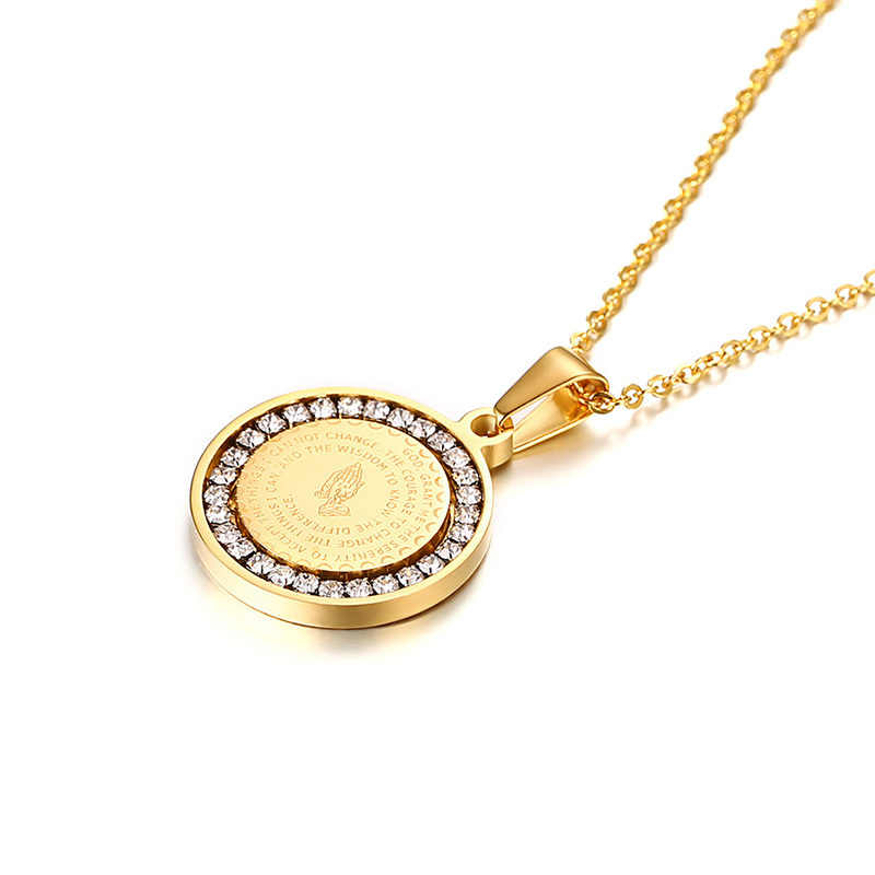 Męska biblia Verse modlitwa cyrkoniowy naszyjnik biżuteria chrześcijańska złoty srebrny ze stali nierdzewnej stal modlitwa ręce moneta Medal wisiorek naszyjniki