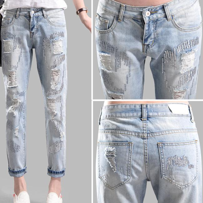 Spring models sequined high waist capris jeans female feet pants harem pants hole womens sexy jeans lole капри lsw1349 lively capris xl blue corn
