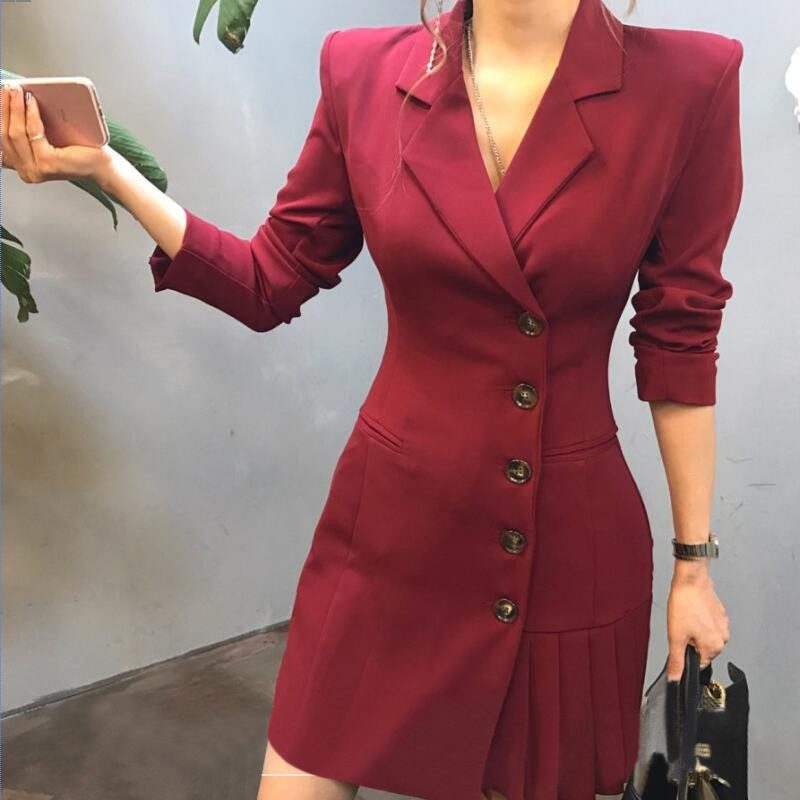 2019 Hot Selling Spring Women Casual Long Thin Blazers Coats Notched Collar Full Sleeve Triple Button Fashion Cardigans Dropship