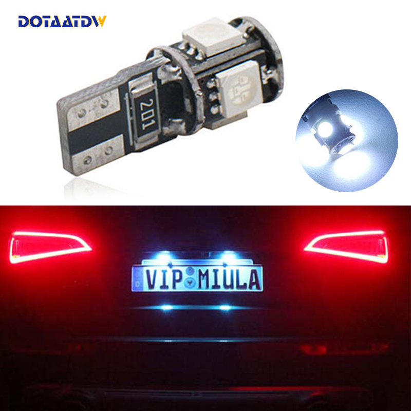DOTAATDW 2x Car <font><b>Led</b></font> Error Free T10 5050 SMD <font><b>Lamp</b></font> 12V License Plate Lights For <font><b>Peugeot</b></font> 206 207 306 307 406 407 <font><b>308</b></font> 5008 image