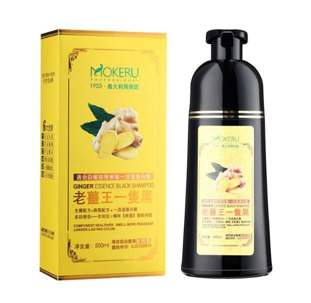 Mokeru Natural Ginger 5 Minutes Fast Hair Dye Shampoo Organic Hair Dye Permanent Black Shampoo For Women Hair Coloring Cream 1