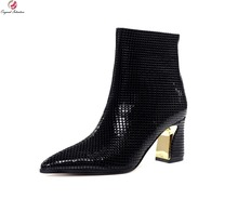 Original Intention Women High-quality Ankle Boots Fashion Pointed Toe Square Heels Boots Elegant Black Shoes Woman US Size 4-9