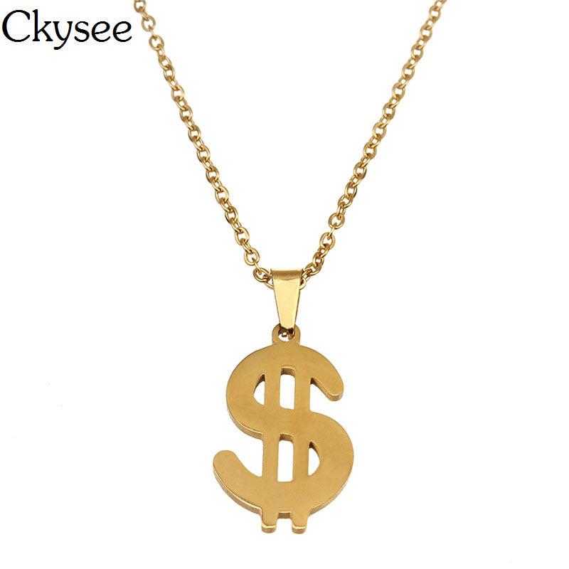 Ckysee 2018 Arany színű 316L Rozsdamentes acél dollár pénz - Divatékszer