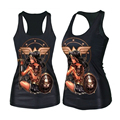 Womens Fashion Cult Eagle Beauty Digital Print Gothic Steampunk T-shirts (Size: M, Color: Black)