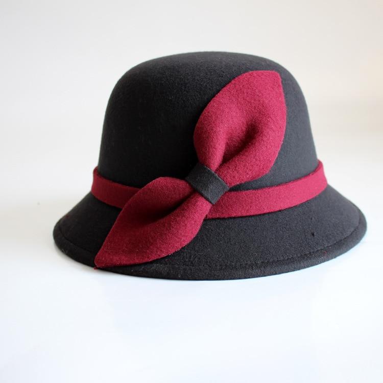 0cbdfa4ca55e9 Otoño invierno Sombreros para Las Mujeres Sombreros Fedora Bowler Sombrero  de Las Mujeres Gorros de lana para el Partido de Lana Bowknot Caps Chapeu  ...