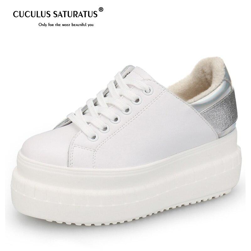dff35de5dea492 Cuculus 2019 Autumn Winter Shoes Women Sneakers Genuine Leather Flat  Platform Plush for Winter Womens Brand