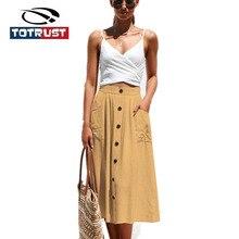купить TOTRUST Summer Skirts For Women 2019 Elastic Back Midi Button Knee Length Summer Fashion Casual Skirt High Waist Saia Femininas по цене 520.4 рублей