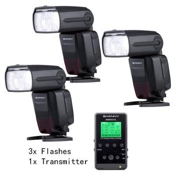 3pcs SHANNY SN910EX-RF i-TTL Wireless Radio Transmission Flash Light  + 1pcs SN910TX 2.4G Wireless Radio for Nikon Kit