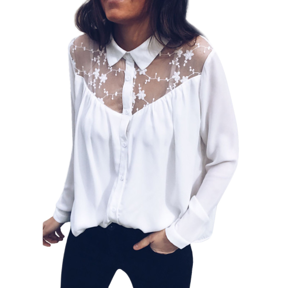 Fashion Women Tops Sexy Mesh Blouses Long Sleeve Lace Stitching Button Chiffon Tops Blouse Shirt Hollow Casual Chiffon Blouse