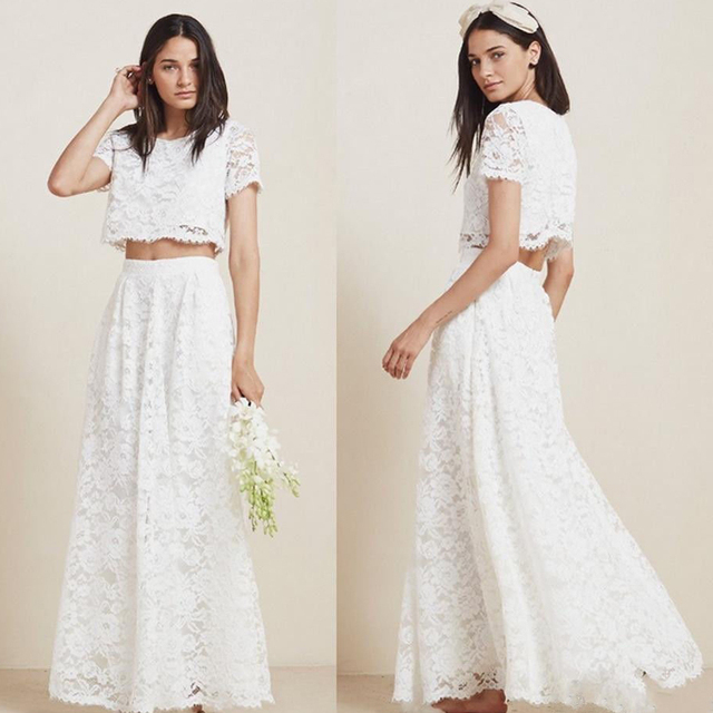 Beautiful 2 Pieces Wedding Dresses Lace A-line Short Sleeve Women Bridal Gowns Custom made Vintage Garden Wedding Gown
