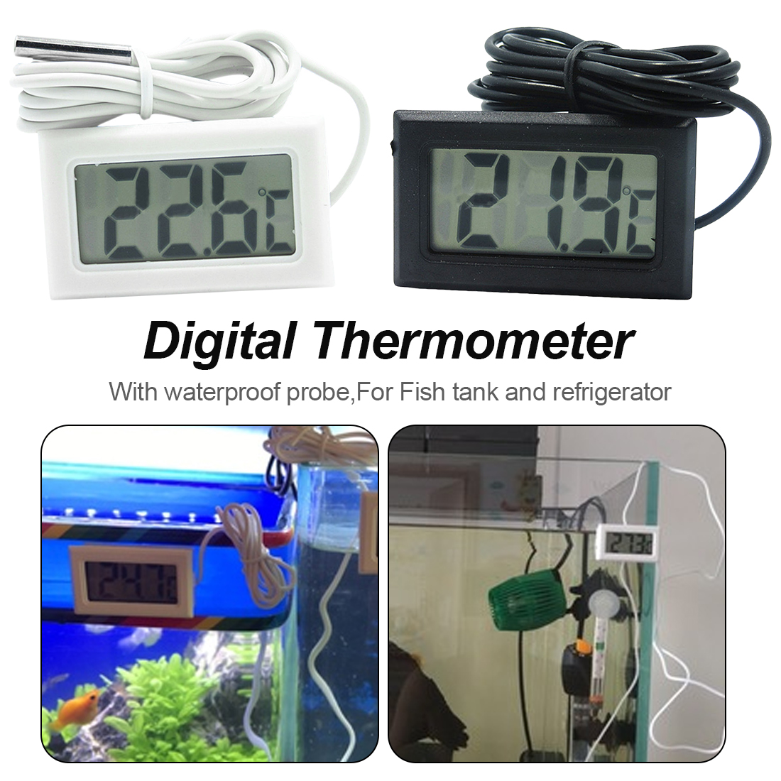 Temperature Sensor -<font><b>50</b></font>~<font><b>110C</b></font> Mini LCD Display Digital Thermometer Meter Aquarium refrigerator water temperature gauge image