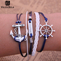 10 Style Anchor Love Bracelets & Bangles Owl Men Jewelry Leather Pulseras Women Rhinestone Set Charm 2014 Fashion SZ3010