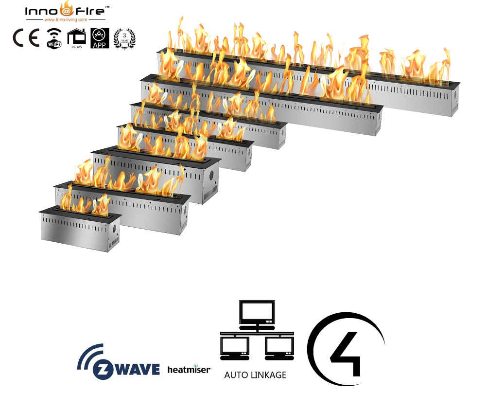 Inno Living Fire 72 Inch Ethanol Burner With Remote Control Fireplace Insert