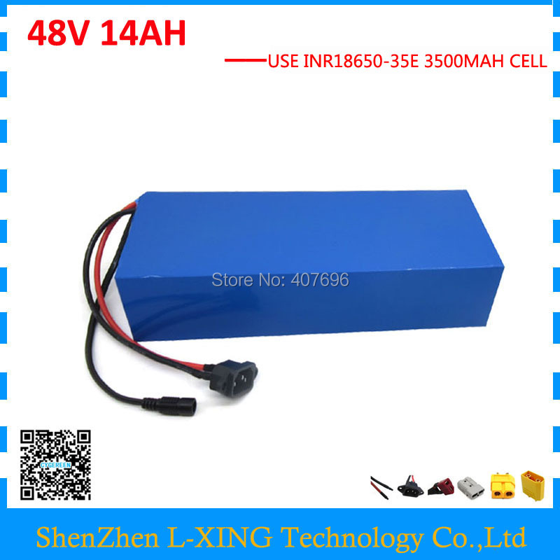 Free customs fee 48V 14AH electric bike battery 750W 48 V battery pack use for Samsung 3500mah cell with 20A BMS 2A Charger free customs taxes high quality 48 v li ion battery pack with 2a charger and 20a bms for 48v 15ah 700w lithium battery pack