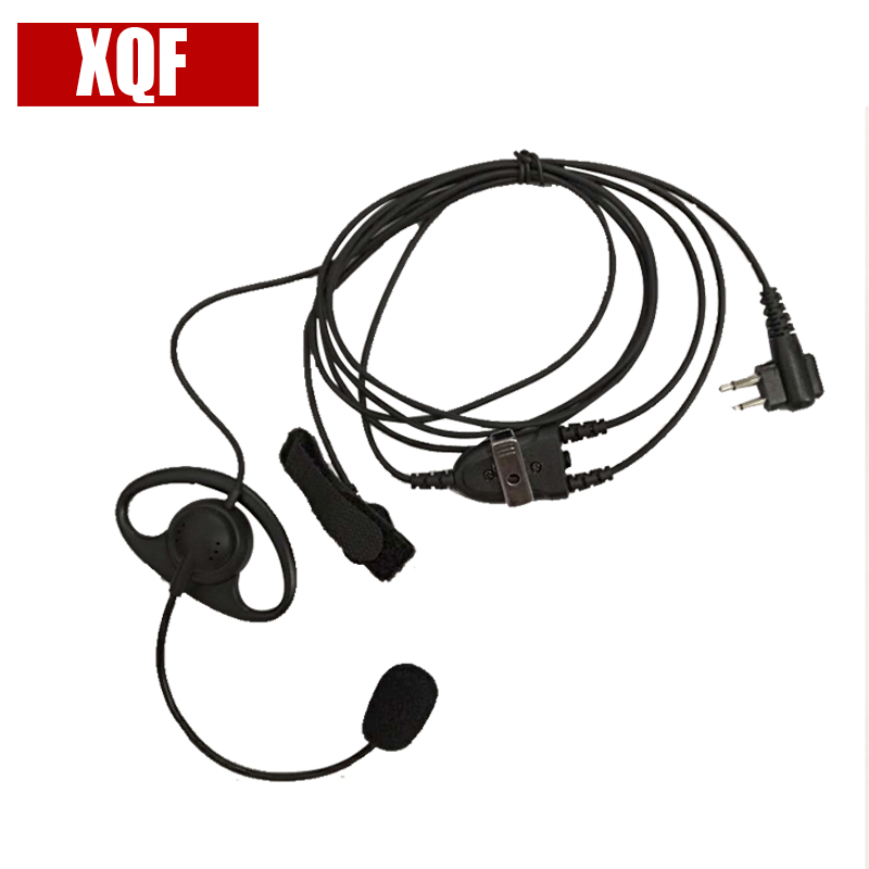 XQF D Shape Earhook Earpiece With Finger PTT And Microphone For Motorola 2 Pin Walkie Talkie EP450 GP2000 GP88 GP88S CP88
