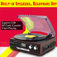 Multi Function Home Turntables LP Vinyl Record Player Built in Stereo Speakers Support USB/SD Card/Cassette/FM Radio Playback